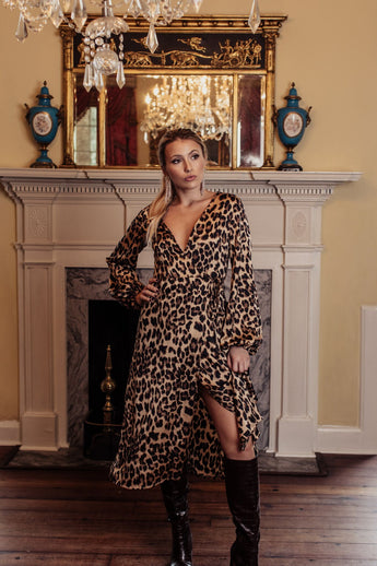Wrapped In Cheetah Wrap Dress