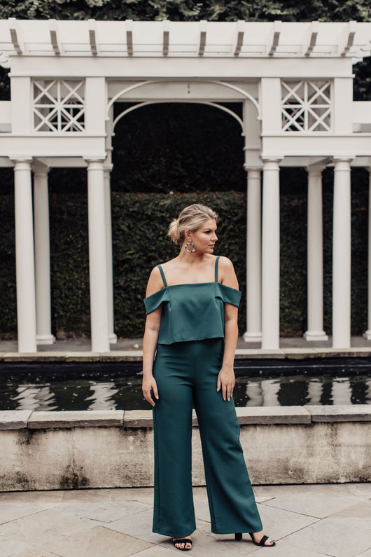 Holly Jolly Cold Shoulder Jumpsuit