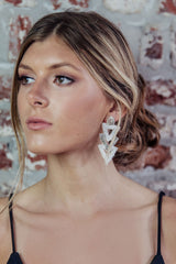 White Beaded Arrowhead Earrings