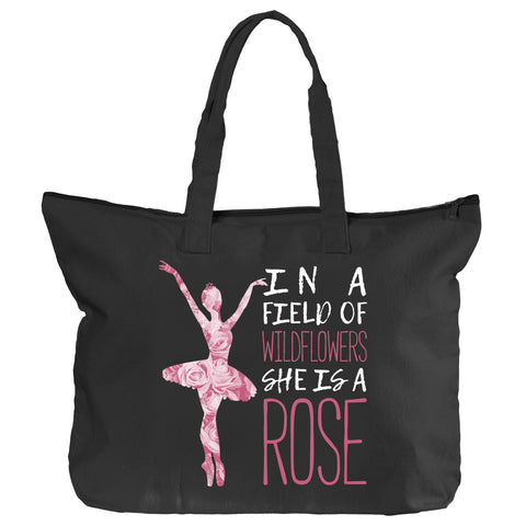 Belle 'SHE IS A ROSE' Zippered Tote