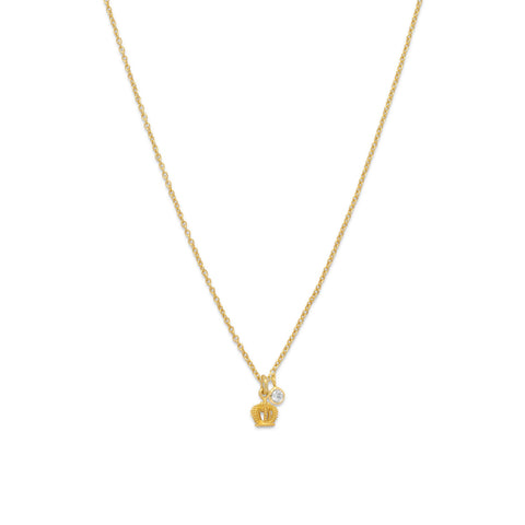 14k Crown Charm Necklace