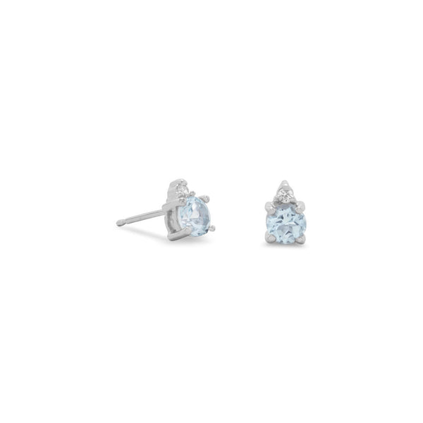 Stacked Blue Topaz Diamond Studs