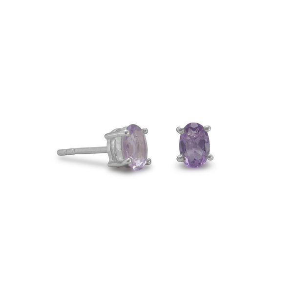 Faceted Oval Amethyst Studs