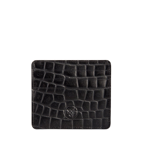 Image 1 of the 'Marco' Croco Black Veg-Tanned Leather Wallet