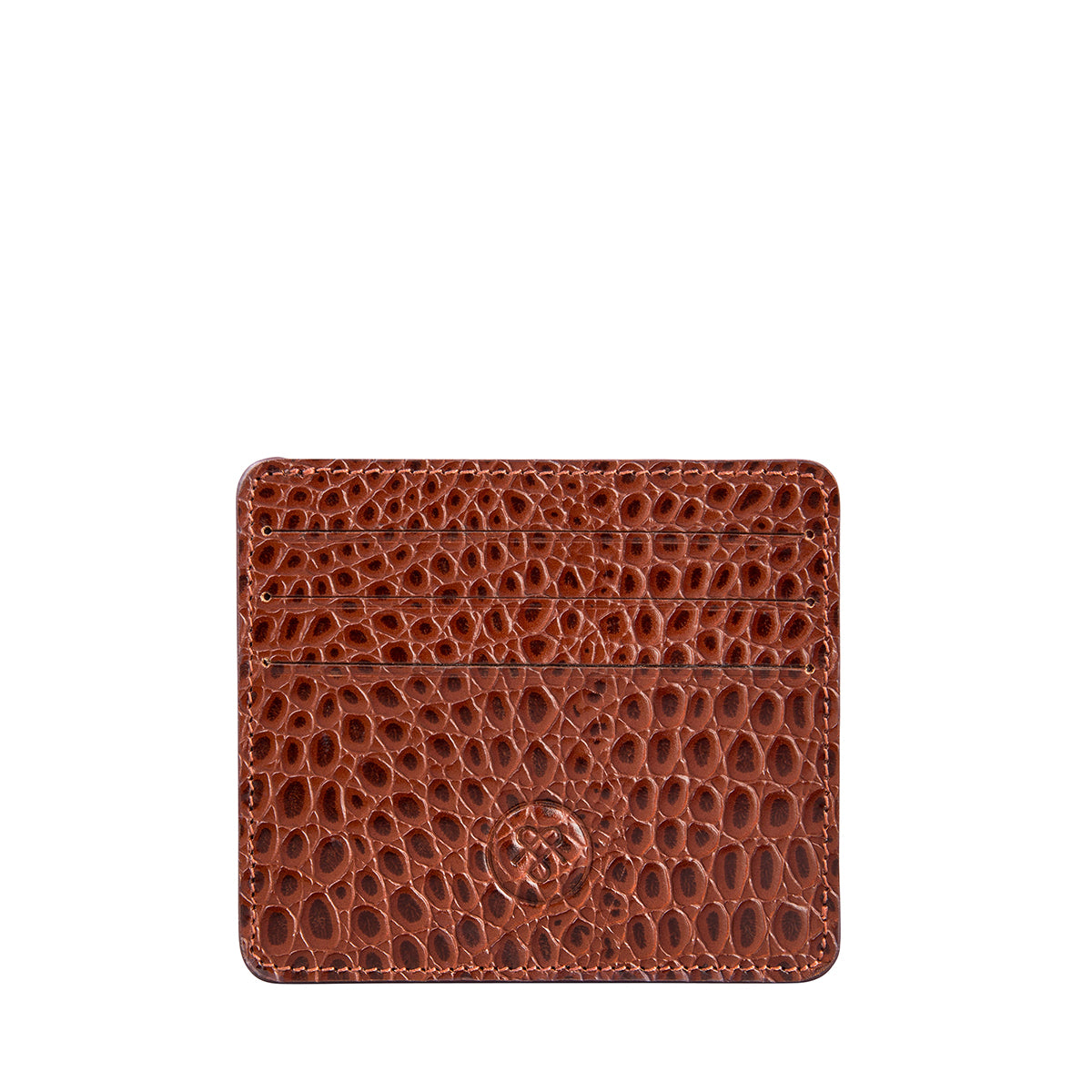 Image 1 of the 'Marco' Chestnut Mock Croc Veg-Tanned Leather Wallet