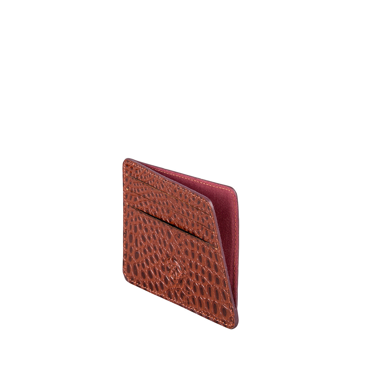 Image 3 of the 'Marco' Chestnut Mock Croc Veg-Tanned Leather Wallet