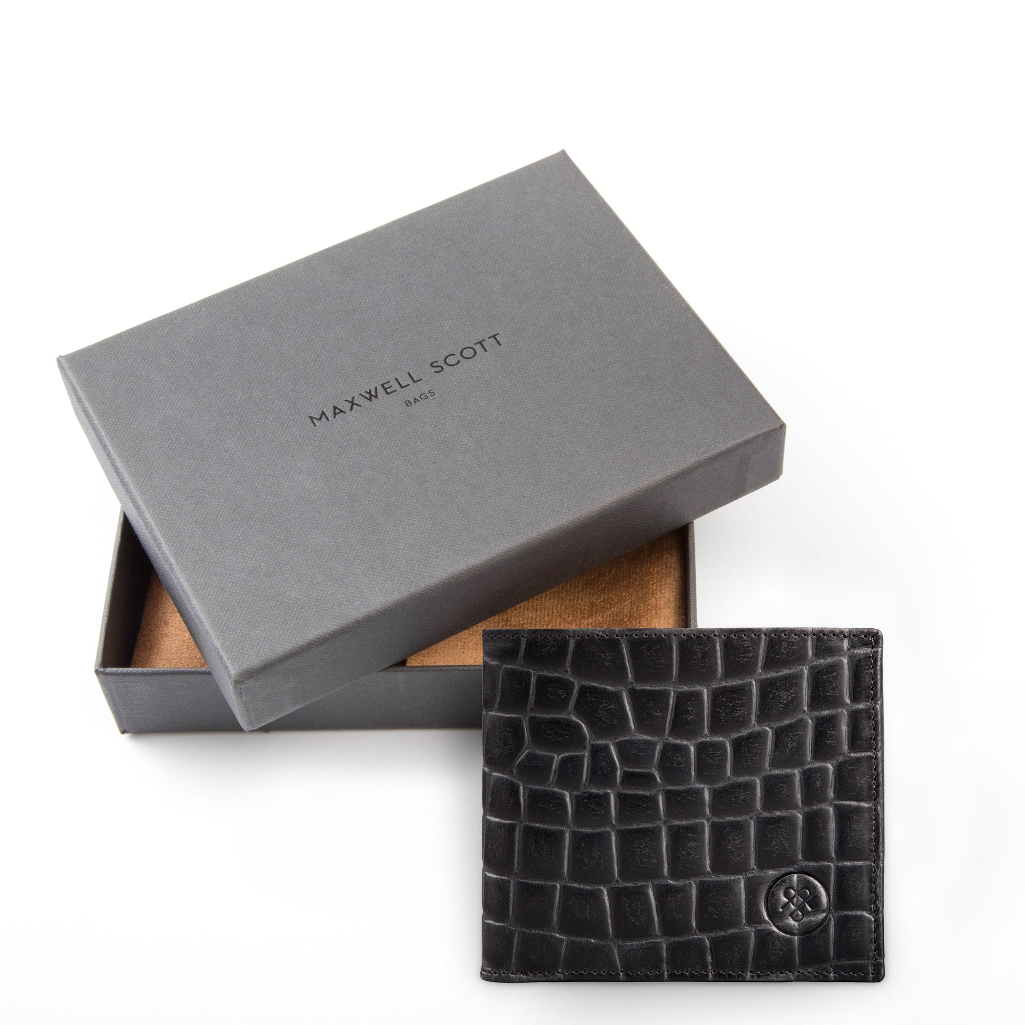 Image 7 of the 'Ticciano' Black Mens Mock Croc Wallet with Coin Pocket