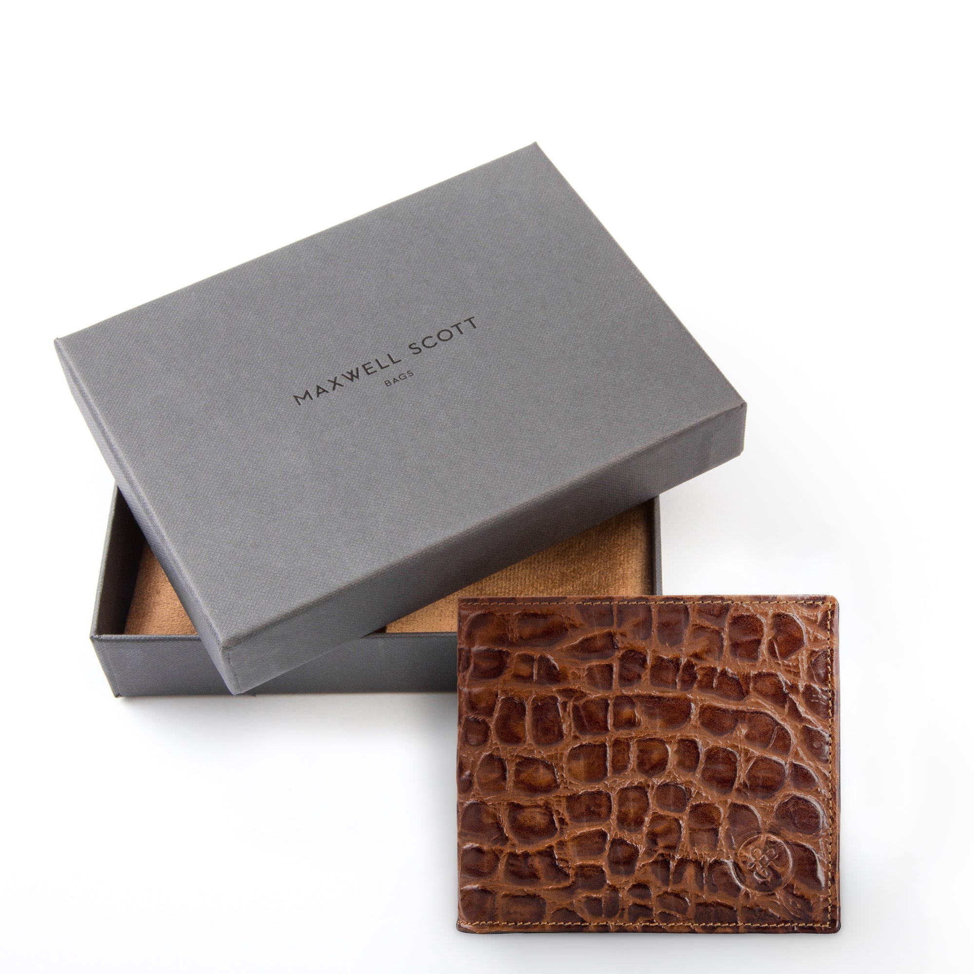 Image 5 of the 'Vittore' Mock Croc Chocolate Veg-Tanned Leather Bi-Fold Wallet