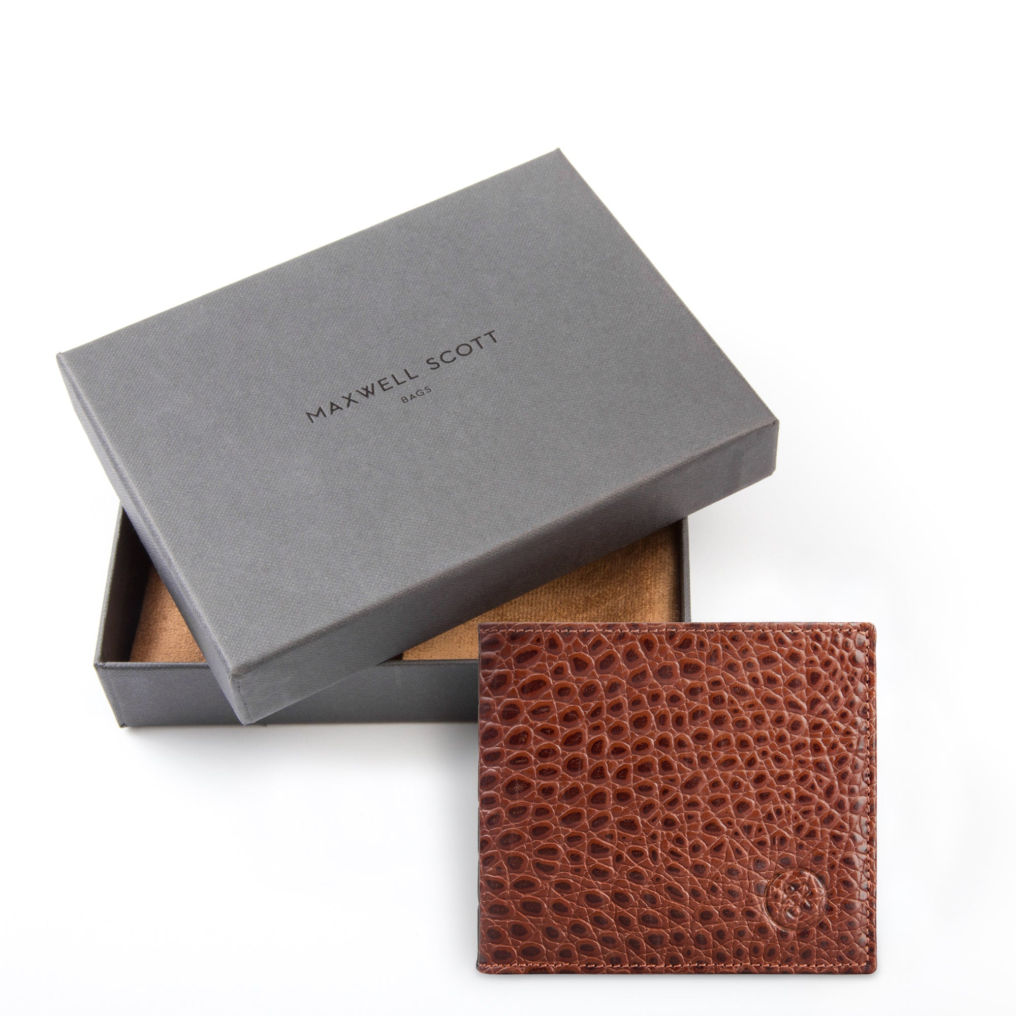Image 5 of the 'Vittore' Mock Croc Chestnut Veg-Tanned Leather Bi-Fold Wallet