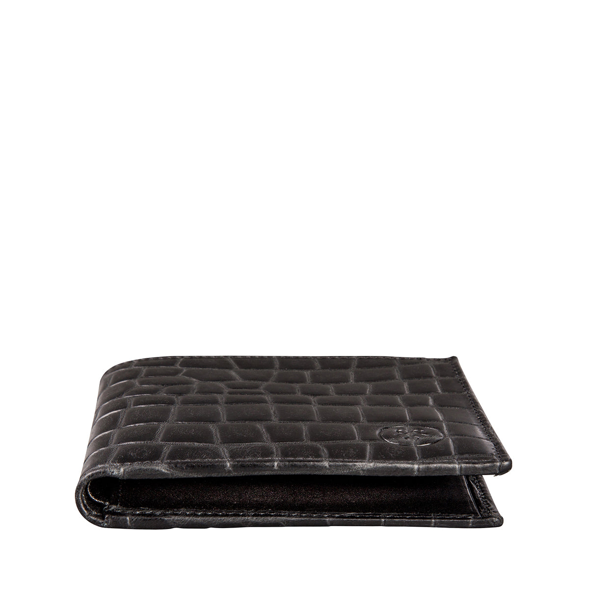 Image 2 of the 'Vittore' Mock Croc Black Veg-Tanned Leather Bi-Fold Wallet