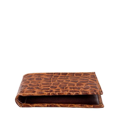 Image 2 of the 'Vittore' Mock Croc Chocolate Veg-Tanned Leather Bi-Fold Wallet