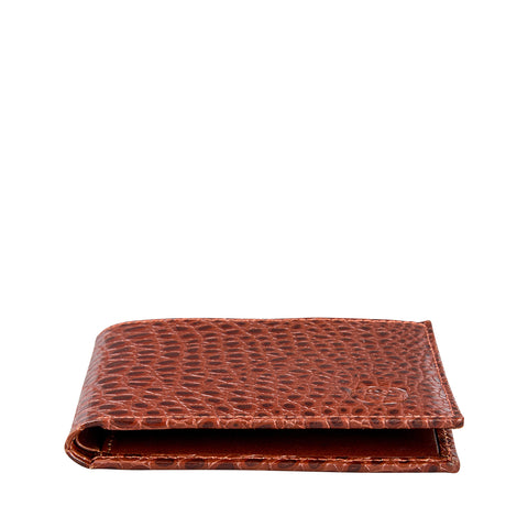 Image 2 of the 'Vittore' Mock Croc Chestnut Veg-Tanned Leather Bi-Fold Wallet