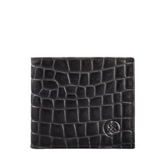 Image 1 of the 'Vittore' Mock Croc Black Veg-Tanned Leather Bi-Fold Wallet