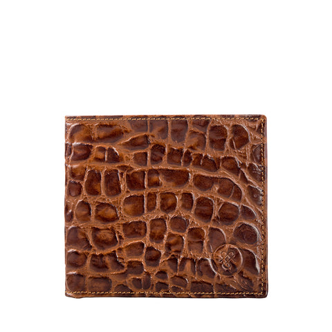 Image 1 of the 'Vittore' Mock Croc Chocolate Veg-Tanned Leather Bi-Fold Wallet