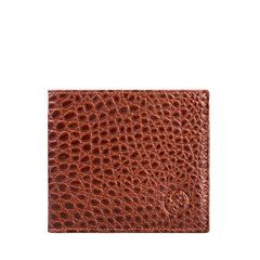 Image 1 of the 'Vittore' Mock Croc Chestnut Veg-Tanned Leather Bi-Fold Wallet