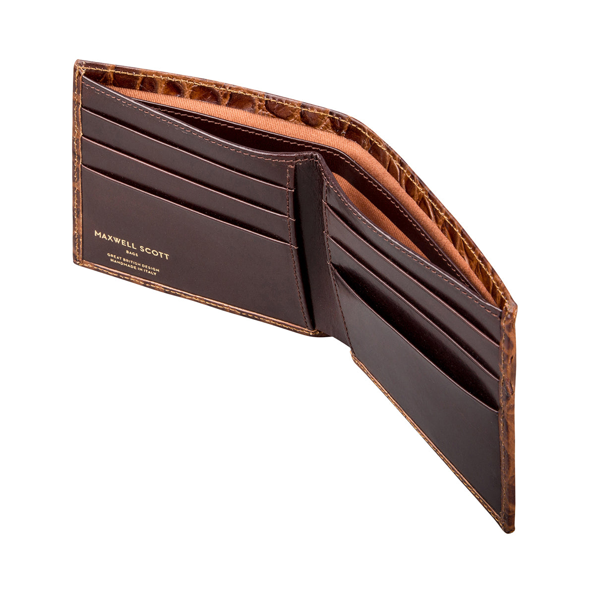 Image 4 of the 'Vittore' Mock Croc Chocolate Veg-Tanned Leather Bi-Fold Wallet