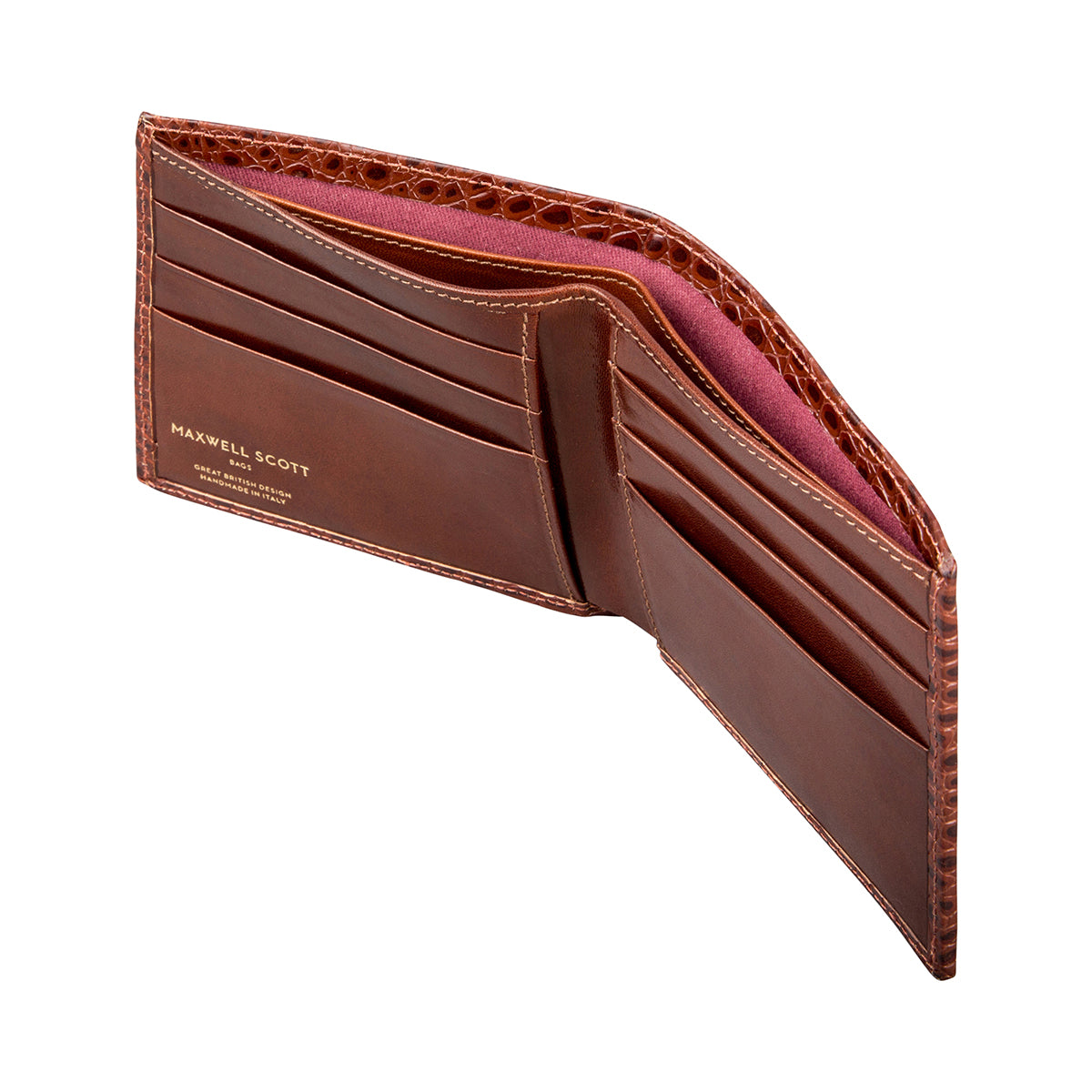 Image 4 of the 'Vittore' Mock Croc Chestnut Veg-Tanned Leather Bi-Fold Wallet