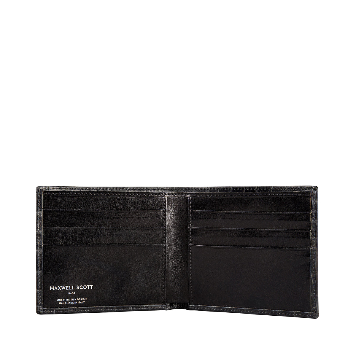 Image 3 of the 'Vittore' Mock Croc Black Veg-Tanned Leather Bi-Fold Wallet