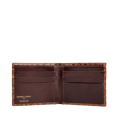 Image 3 of the 'Vittore' Mock Croc Chocolate Veg-Tanned Leather Bi-Fold Wallet