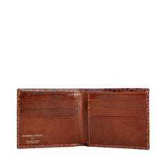 Image 3 of the 'Vittore' Mock Croc Chestnut Veg-Tanned Leather Bi-Fold Wallet