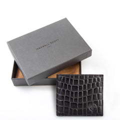 Image 5 of the 'Vittore' Mock Croc Black Veg-Tanned Leather Bi-Fold Wallet