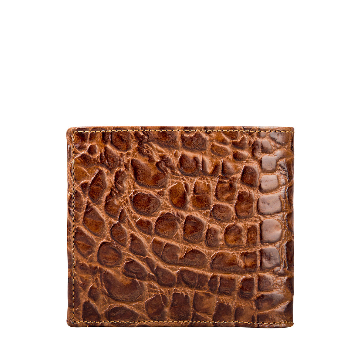 Image 2 of the 'Ticciano' Mock Croc Chocolate Veg-Tanned Leather Wallet with Coin Pocket