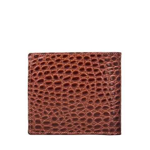 Image 2 of the 'Ticciano' Mock Croc Chestnut Veg-Tanned Leather Wallet with Coin Pocket