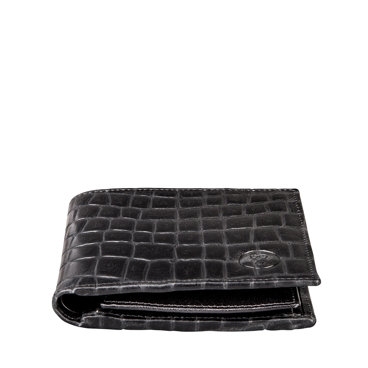Image 3 of the 'Ticciano' Black Mens Mock Croc Wallet with Coin Pocket