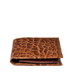 Image 3 of the 'Ticciano' Mock Croc Chocolate Veg-Tanned Leather Wallet with Coin Pocket