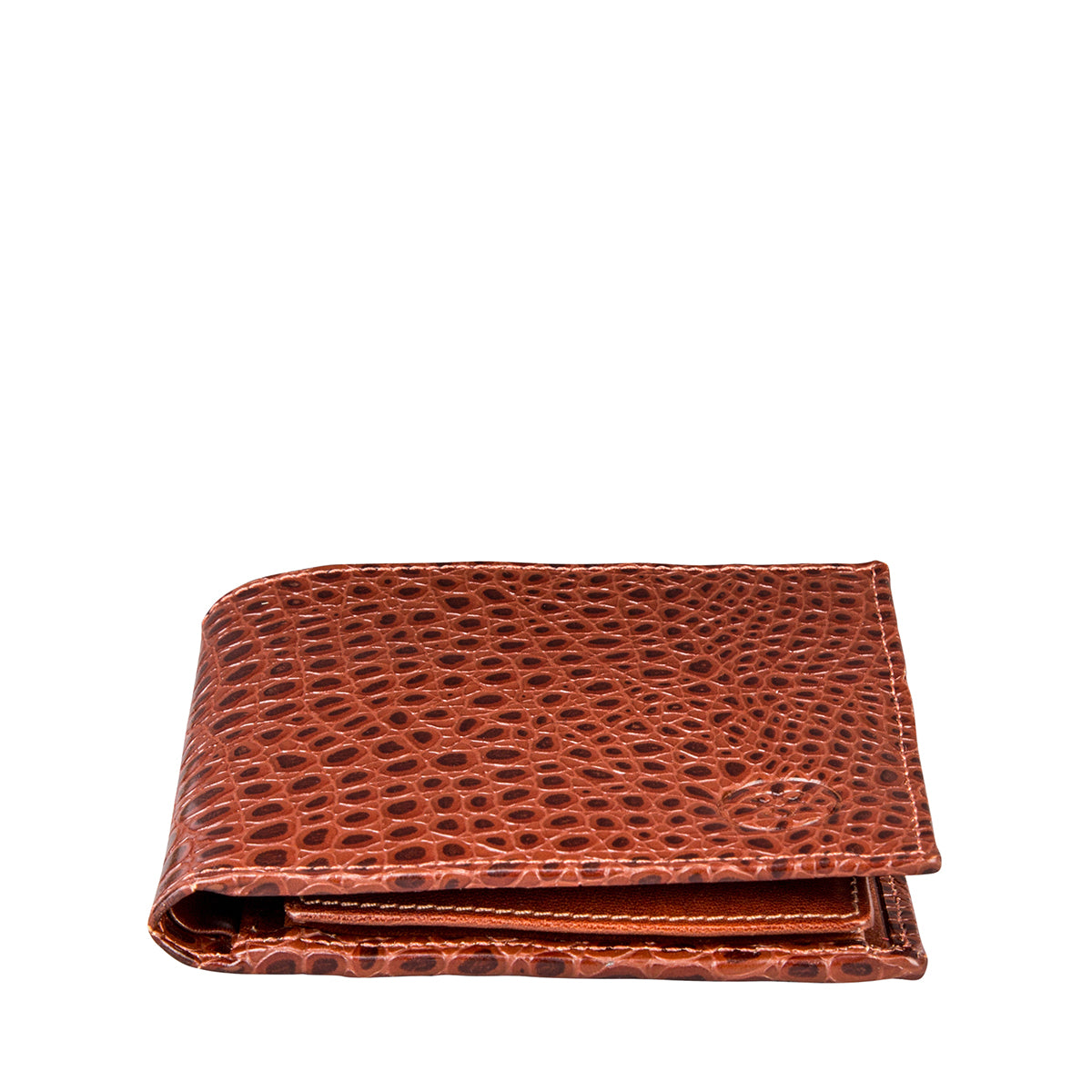 Image 3 of the 'Ticciano' Mock Croc Chestnut Veg-Tanned Leather Wallet with Coin Pocket