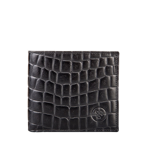 Image 1 of the 'Ticciano' Black Mens Mock Croc Wallet with Coin Pocket
