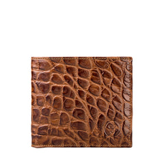 Image 1 of the 'Ticciano' Mock Croc Chocolate Veg-Tanned Leather Wallet with Coin Pocket