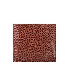 Image 1 of the 'Ticciano' Mock Croc Chestnut Veg-Tanned Leather Wallet with Coin Pocket