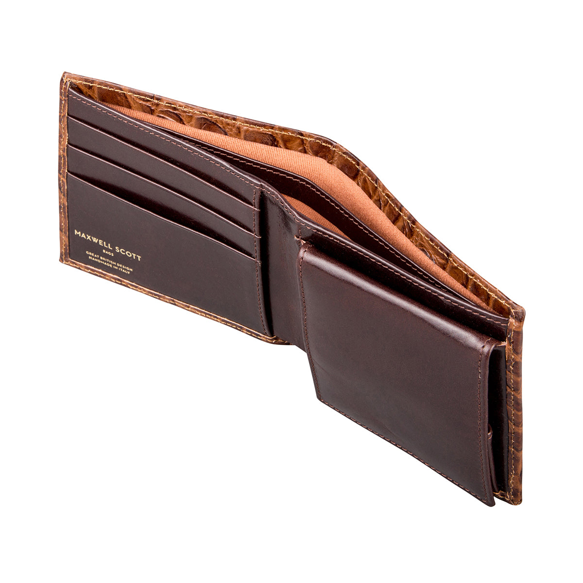 Image 5 of the 'Ticciano' Mock Croc Chocolate Veg-Tanned Leather Wallet with Coin Pocket