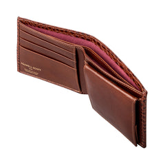 Image 5 of the 'Ticciano' Mock Croc Chestnut Veg-Tanned Leather Wallet with Coin Pocket