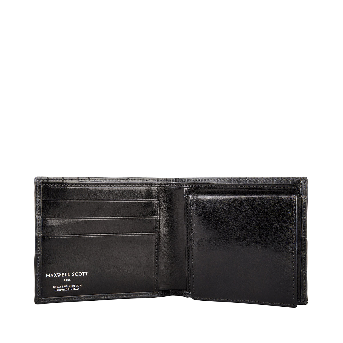 Image 4 of the 'Ticciano' Black Mens Mock Croc Wallet with Coin Pocket