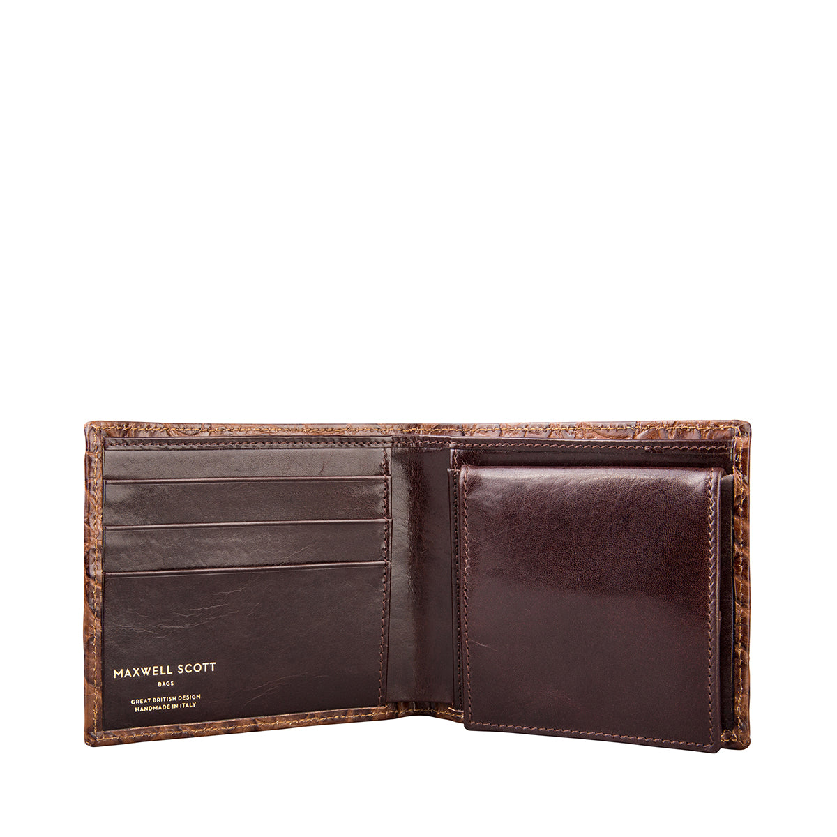 Image 4 of the 'Ticciano' Mock Croc Chocolate Veg-Tanned Leather Wallet with Coin Pocket