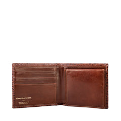 Image 4 of the 'Ticciano' Mock Croc Chestnut Veg-Tanned Leather Wallet with Coin Pocket