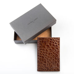 Image 4 of the 'Pianillo' Mock Croc Chocolate Veg-Tanned Leather Breast Wallet