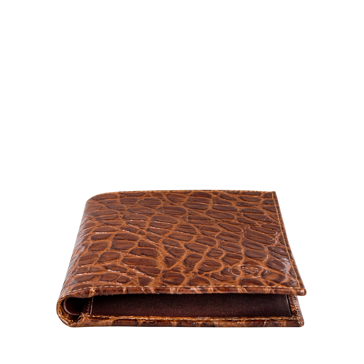 Image 2 of the 'Pianillo' Mock Croc Chocolate Veg-Tanned Leather Breast Wallet
