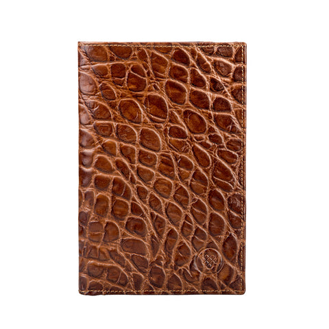 Image 1 of the 'Pianillo' Mock Croc Chocolate Veg-Tanned Leather Breast Wallet