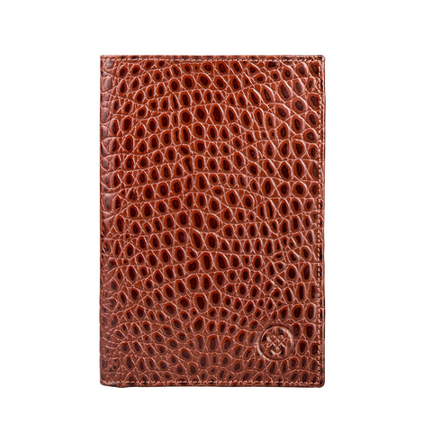 Image 1 of the 'Pianillo' Mock Croc Chestnut Veg-Tanned Leather Breast Wallet