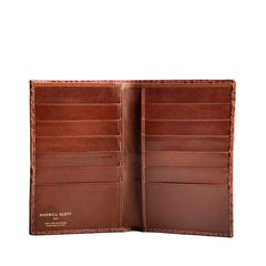 Image 3 of the 'Pianillo' Mock Croc Chestnut Veg-Tanned Leather Breast Wallet