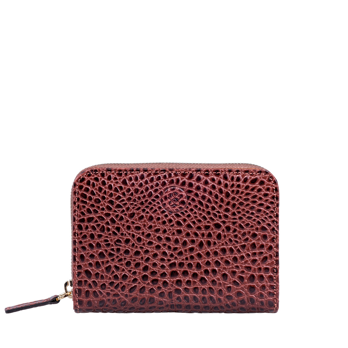 Image 1 of the 'Forino' Chestnut Mock Croc Veg Tanned Leather Purse