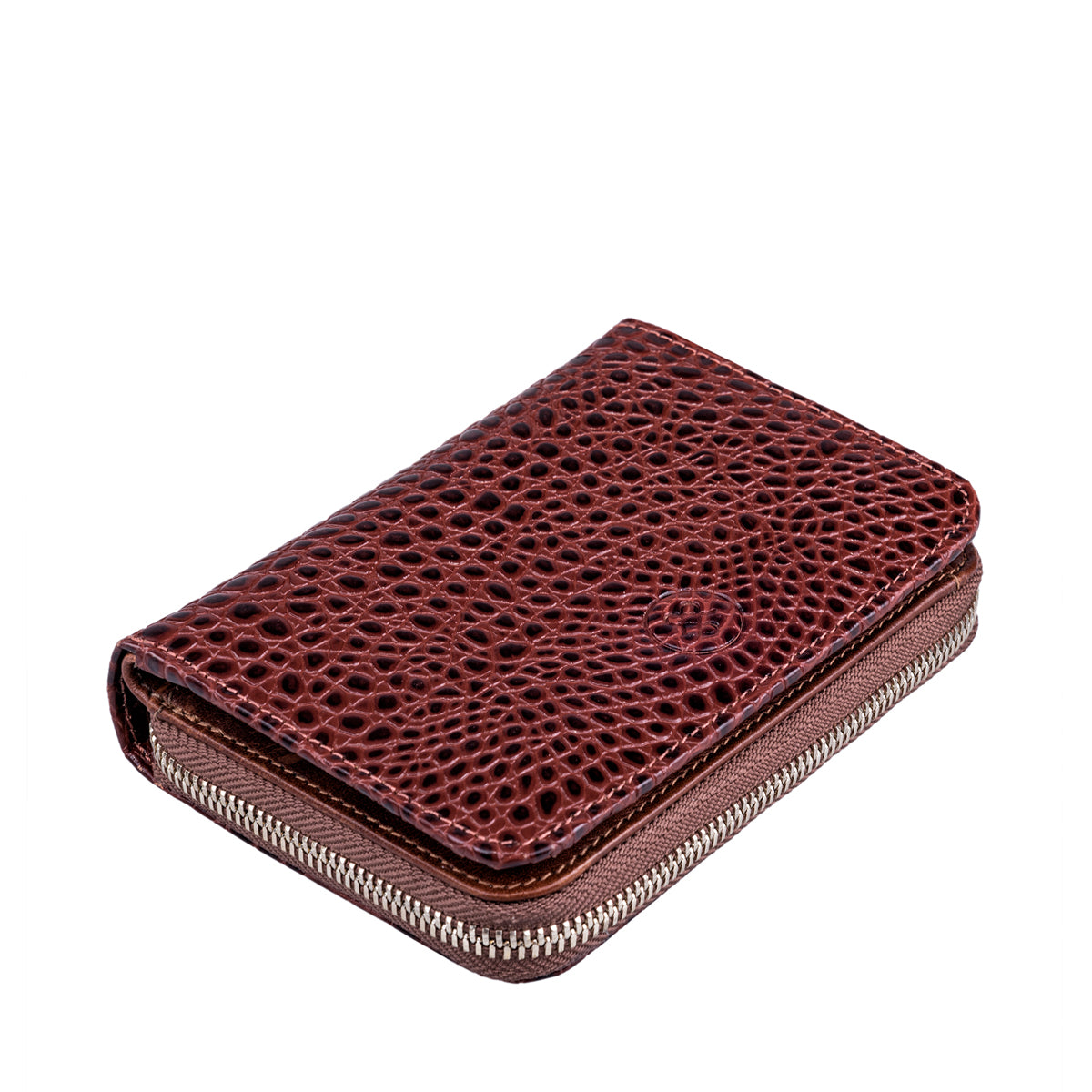 Image 5 of the 'Forino' Chestnut Mock Croc Veg Tanned Leather Purse
