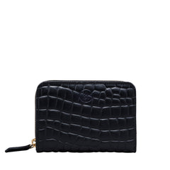 Image 1 of the 'Forino' Black Mock Croc Veg Tanned Leather Purse