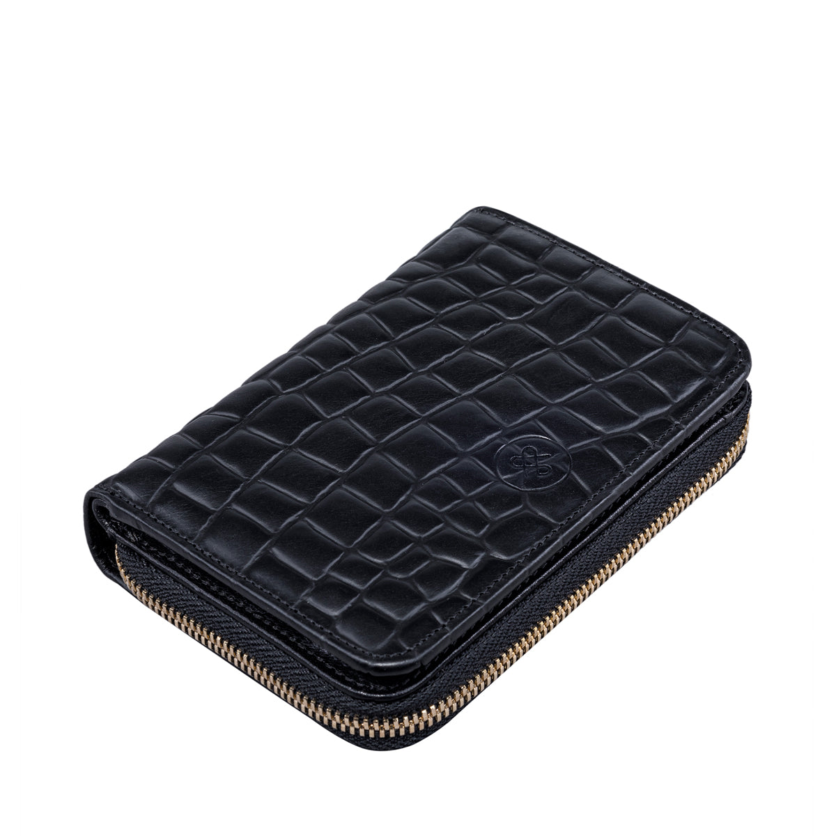 Image 4 of the 'Forino' Black Mock Croc Veg Tanned Leather Purse