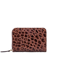 Image 1 of the 'Forino' Chocolate Mock Croc Veg Tanned Leather Purse