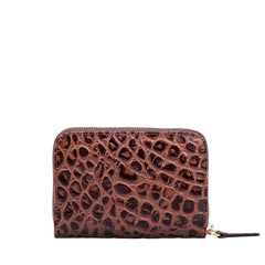 Image 3 of the 'Forino' Chocolate Mock Croc Veg Tanned Leather Purse