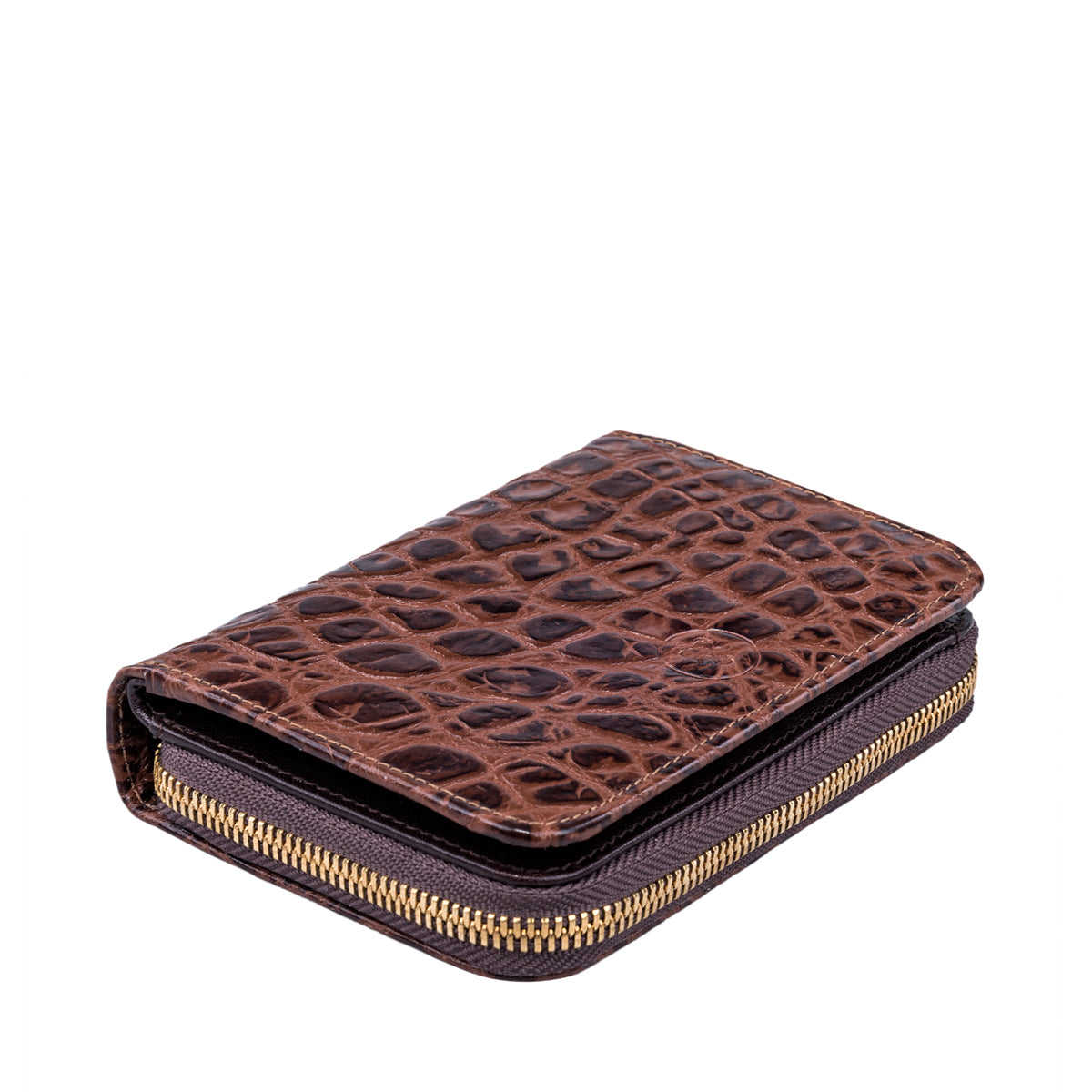 Image 5 of the 'Forino' Chocolate Mock Croc Veg Tanned Leather Purse